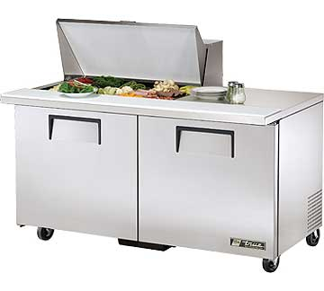 TRUE Mega Top Sandwich Prep Table 15.5 Cu. Ft. TSSU-60-15M-B
