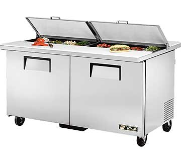 TRUE Dual Sandwich Prep Table 15.5 Cu. Ft. - TSSU-60-16-DS-ST-HC