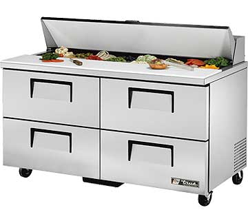 TRUE Sandwich Prep Table 15.5 Cu. Ft. TSSU-60-16D-4