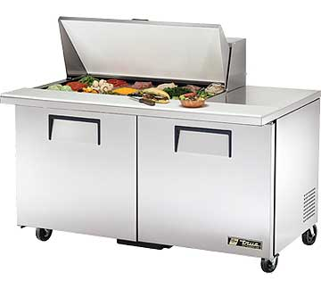 TRUE Mega Top Sandwich Prep Table 15.5 Cu. Ft. TSSU-60-18M-B