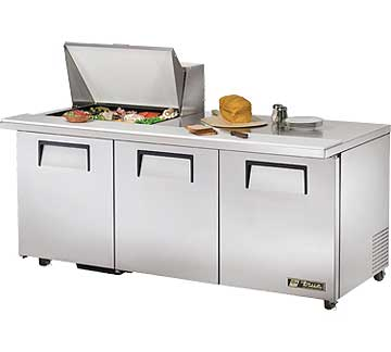 TRUE Mega Top Sandwich Prep Table 19 Cu. Ft. - TSSU-72-12M-B-ADA-HC