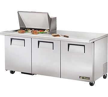 TRUE Mega Top Sandwich Prep Table 19 Cu. Ft. TSSU-72-12M-B
