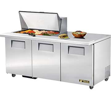 TRUE Mega Top Sandwich Prep Table 19 Cu. Ft. TSSU-72-15M-B