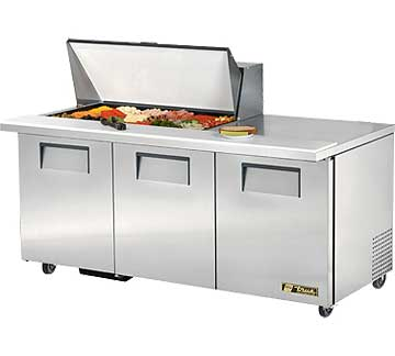 TRUE Mega Top Sandwich Prep Table 19 Cu. Ft. TSSU-72-18M-B