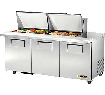 TRUE Mega Top Sandwich Prep Table Unit 19 Cubic Ft. TSSU-72-24M-B-ST