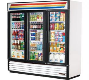 True Glass Door Refrigerator GDM-72-HC-LD - 3 Swing Doors