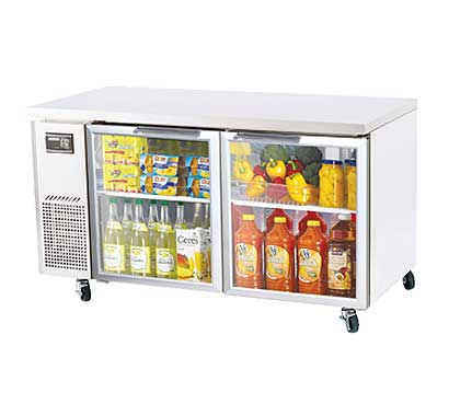 Turbo Air J Series Glass Door Undercounter Refrigerator 15 cu.ft. - JUR-60-G-N