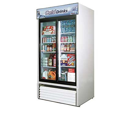 Turbo Air Glass Door Refrigerator - 2 Swinging Doors, 35 Cu. Ft.