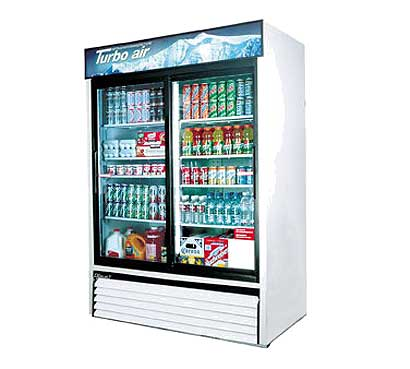 Turbo Air Glass Door Refrigerator - 2 Swinging Doors, 48 Cu. Ft.