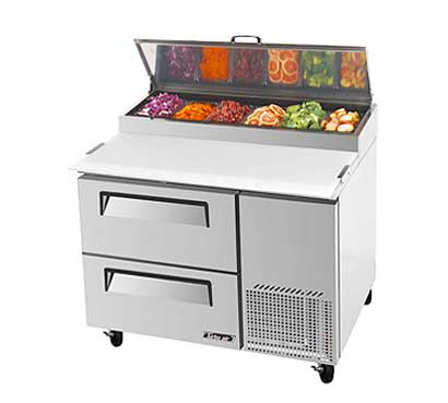 Turbo Air Super Deluxe Pizza Prep Table, Two Door - TPR-44SD-D2-N
