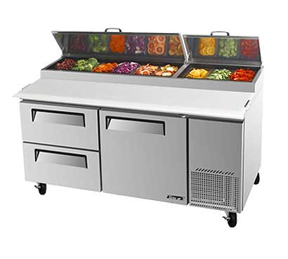 Turbo Air Super Deluxe Pizza Prep Table, Two Door - TPR-67SD-D2-N