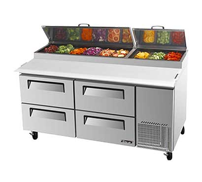 Turbo Air Super Deluxe Pizza Prep Table, Four Door - TPR-67SD-D4-N