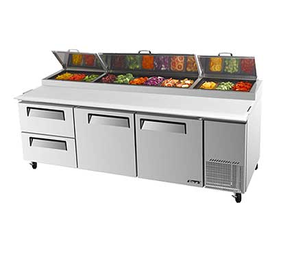 Turbo Air Super Deluxe Pizza Prep Table, Two Door - TPR-93SD-D2-N