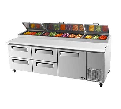 Turbo Air Super Deluxe Pizza Prep Table, Four Door - TPR-93SD-D4-N