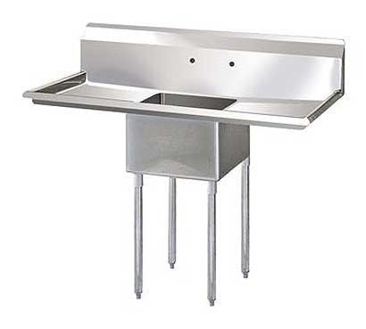 "Turbo Air Stainless Steel One Compartment Sink, 18"" x 18"" Bowl with Left And Right Drainboards - TSA-1-D1"