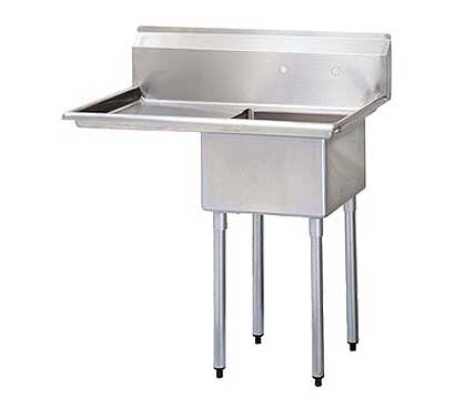 "Turbo Air Stainless Steel One Compartment Sink, 18"" x 18"" Bowl with Left Drainboard"