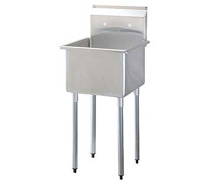 """Turbo Air Stainless Steel One Compartment Sink, 18"""" x 18"""" Bowl, No Drainboard - TSA-1-N"""