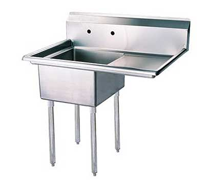 """Turbo Air Stainless Steel One Compartment Sink, 18"""" x 18"""" Bowl with Right Drainboard"""