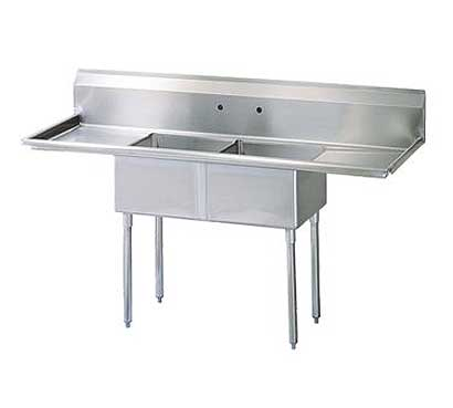 "Turbo Air Stainless Steel Two Compartment Sink, 18"" x 18"" Bowls with Left And Right Drainboards - TSA-2-D1"