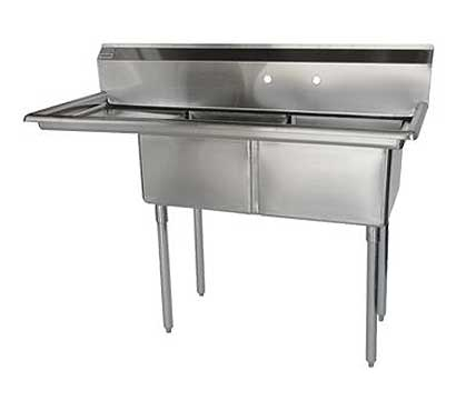 "Turbo Air Stainless Steel Two Compartment Sink, 18"" x 18"" Bowls with Left Drainboard"