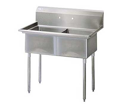 "Turbo Air Stainless Steel Two Compartment Sink, 18"" x 18"" Bowls, No Drainboard"