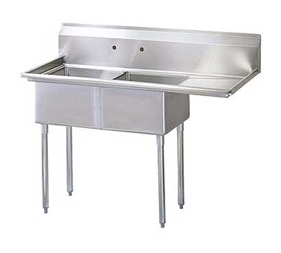 "Turbo Air Stainless Steel Two Compartment Sink, 18"" x 18"" Bowls with Right Drainboard"