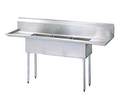 "Turbo Air Stainless Steel Three Compartment Sink, 18"" x 18"" Bowls, Left And Right Drainboards"