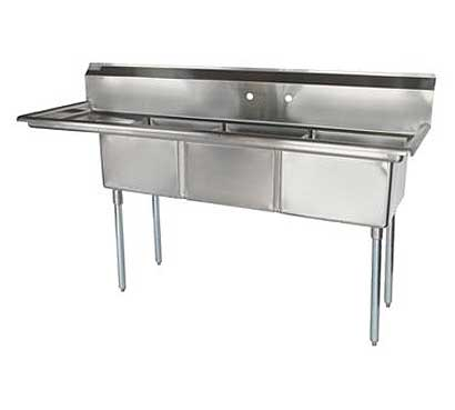 Superb Stainless Steel Three Compartment Sink Bowls Left Drainboard Product Photo