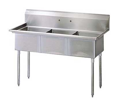 "Turbo Air Stainless Steel Three Compartment Sink, 18"" x 18"" Bowls, No Drainboard"