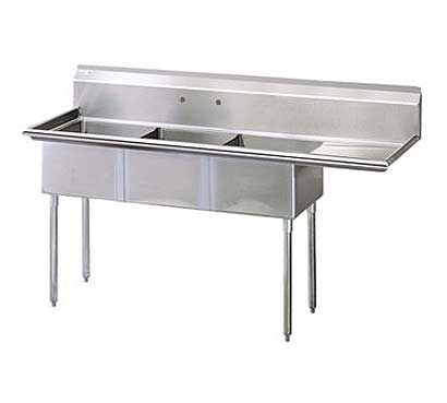 "Turbo Air Stainless Steel Three Compartment Sink, 18"" x 18"" Bowls with Right Drainboard - TSA-3-R1"