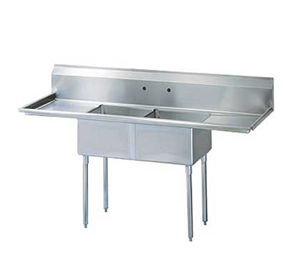 "Turbo Air Stainless Steel Two Compartment Sink, 24"" x 24"" Bowl with Left And Right Drainboard - TSB-2-D2"
