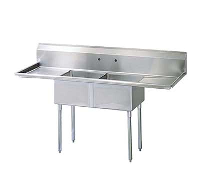 "Turbo Air Stainless Steel Two Compartment Sink, 24"" x 24"" Bowl with Left And Right Drainboard"