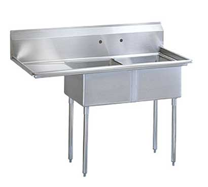 "Turbo Air Stainless Steel Two Compartment Sink, 24"" x 24"" Bowl with Left Drainboard - TSB-2-L2"