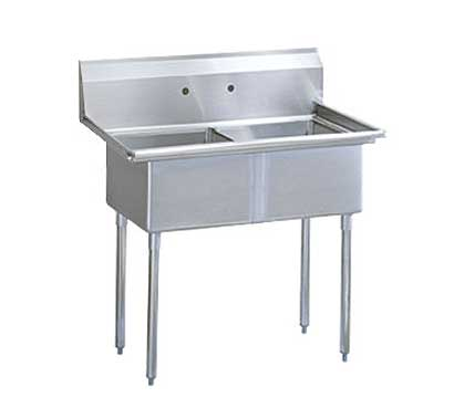 "Turbo Air Stainless Steel Two Compartment Sink, 24"" x 24"" Bowl, No Drainboard"