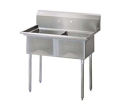 """Turbo Air Stainless Steel Two Compartment Sink, 24"""" x 24"""" Bowl, No Drainboard"""
