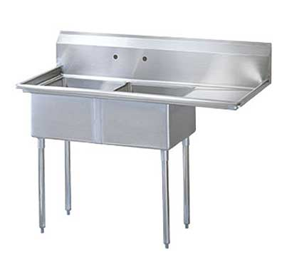 "Turbo Air Stainless Steel Two Compartment Sink, 24"" x 24"" Bowl with Right Drainboard - TSB-2-R2"