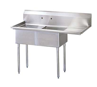 "Turbo Air Stainless Steel Two Compartment Sink, 24"" x 24"" Bowl with Right Drainboard"