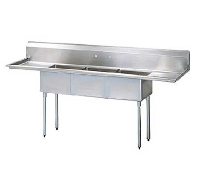 "Turbo Air Sink Three Compartment 18"" front-to-back x 18"" wide sink compartments - TSA-3-14-D2"