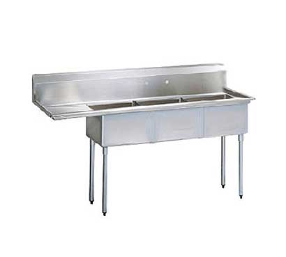 Stainless Steel Three Compartment Sink X Bowl Left Drainboard