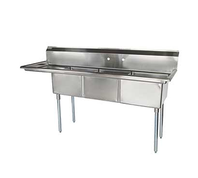 """Turbo Air TurboAir Sink Three Compartment 18"""" front-to-back x 18"""" wide sink compartments - TSA-3-12-L1"""