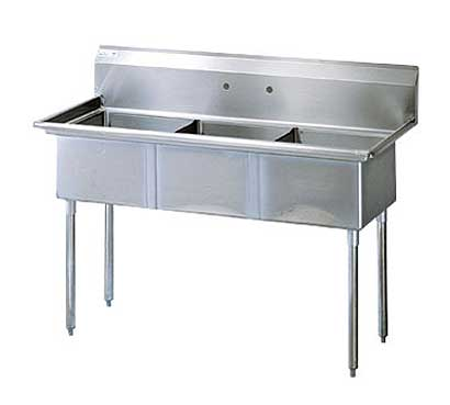 Stainless Steel Three Compartment Sink X Bowl No Drainboard