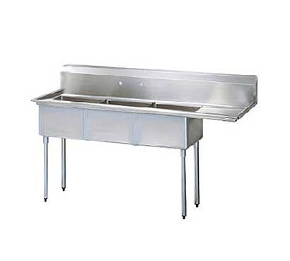 "Turbo Air Stainless Steel Three Compartment Sink, 24"" x 24"" Bowl with Right Drainboard"