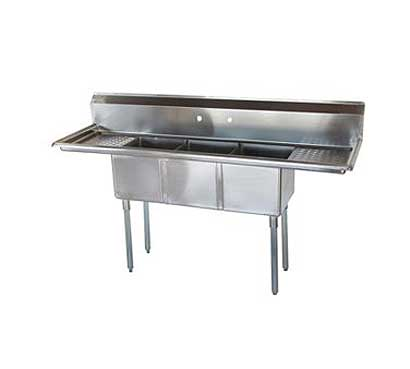 """Turbo Air TurboAir Sink Three Compartment 16"""" front-to-back x 14""""W compartment - TSCS-3-23"""