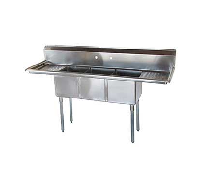 """Turbo Air Sink Three Compartment 16"""" front-to-back x 14""""W compartment - TSCS-3-23"""