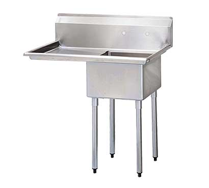 Turbo Air Stainless-Steel-One-Compartment-Sink-Bowl-Left-Drainboard Product Image 1257