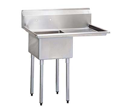 """Turbo Air One Compartment Stainless Steel Sink, 14"""" Deep Bowl with Drainboard"""