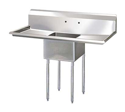 "Single Compartment 14 Inch Deep Stainless Sink 24"" Drainboards"