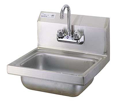 """Turbo Air Hand Sink 17"""" wide x 15"""" front-to-back x 6"""" deep w/8"""" high splash - TSS-1-H"""