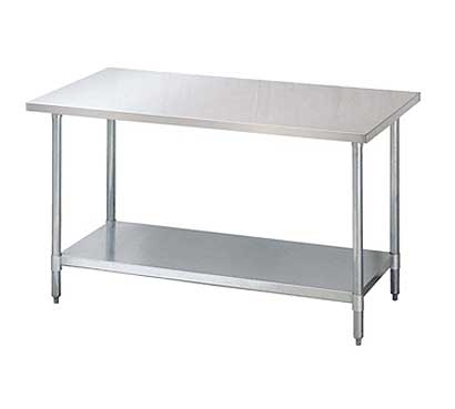 Turbo Air Standard Stainless Steel Work Table With Galvanized Legs And Under Shelf