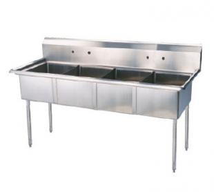 "Turbo Air TurboAir Sink Four Compartment 11"" deep with 11"" high splash - TSA-4-N"